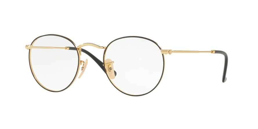 RAY-BAN RX3447V ROUND METAL style-color 2991 Gold ON Top Black