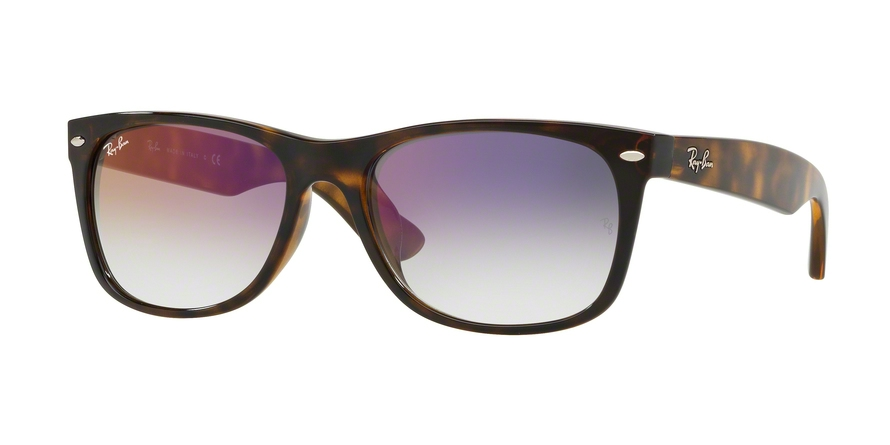 RAY-BAN RB2132F NEW WAYFARER (F) ASIAN FIT style-color 710/S5 Havana / clear gradient violet Lens