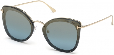 TOM FORD FT0657 CHARLOTTE 35722 style-color 55X Coloured Havana / Blu Mirror