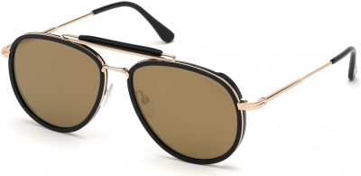 TOM FORD FT0666 TRIPP 35700 style-color 01G Shiny Black / Brown Mirror