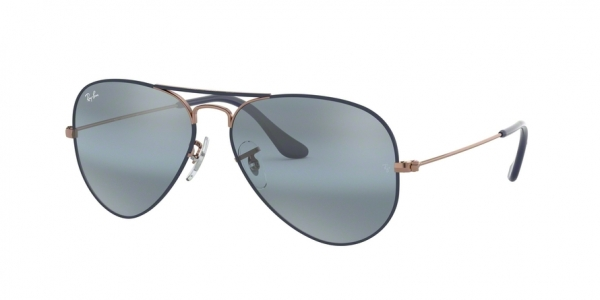 RAY-BAN RB3025 AVIATOR LARGE METAL style-color 9156AJ Copper ON Matte Dark Blue
