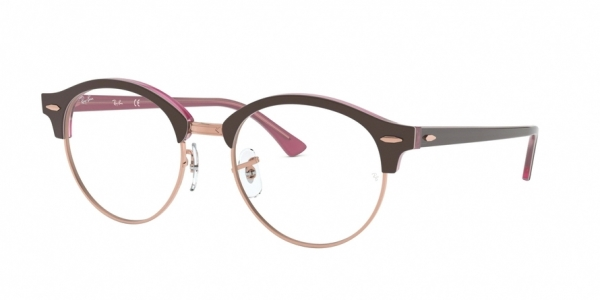RAY-BAN RX4246V CLUBROUND style-color 5886 Top Brown ON Opal Pink