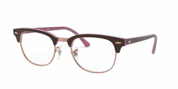 RAY-BAN RX5154 CLUBMASTER style-color 5886 Top Brown ON Opal Pink