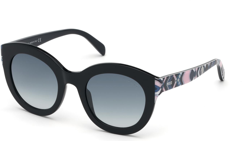 EMILIO PUCCI EP0098 35970 style-color 01W Black, Cobalt & Pink Gaiola Print, Blue Inside / Grad. Smoke Lenses