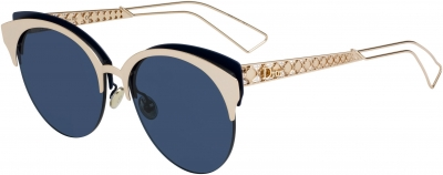 DIORAMACLUB style-color Gray Pearl 02BN / Blue Mirror Shaded Gold A9 Lens