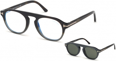 TOM FORD FT5533-B 34242 style-color 55N Havana - To - Grey / Blue Block Lenses, Green Clip In Dark Brown Leather