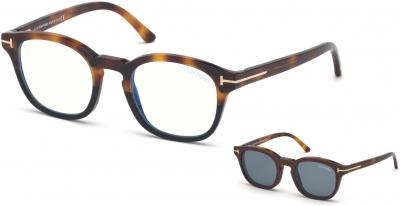 TOM FORD FT5532-B 34251 style-color 56V Havana - To - Black / Blue Block Lenses, Vintage Blue Clip In Brown Leather