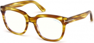 TOM FORD FT5537-B 34248 style-color 045 Shiny Striped Light Brown / Blue Block Lenses