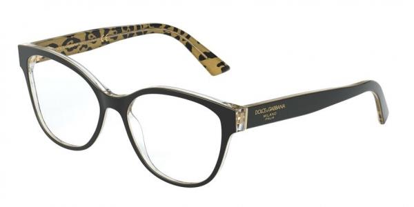DOLCE & GABBANA DG3322F ASIAN FIT style-color 3235 Black ON Leo Glitter Gold