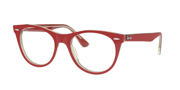 RAY-BAN RX2185V style-color 5987 Red ON Top Trasparent Grey