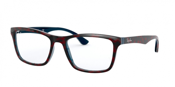 RAY-BAN RX5279 style-color 5973 Top Red Havana ON Opal Blue