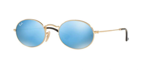 RAY-BAN RB3547N OVAL style-color 001/9O Gold / light blue flash Lens