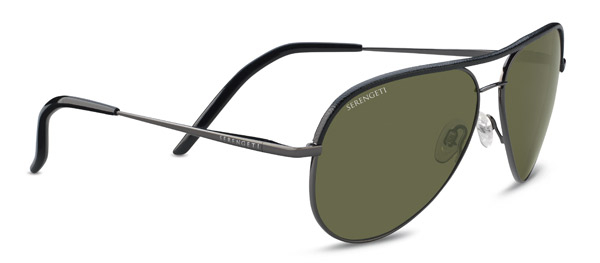 SERENGETI CARRARA LEATHER style-color 8548 SHINY GUNMETAL / BLACK LEATHER / MINERAL POLARIZED 555NM