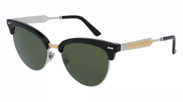GUCCI GG0055S style-color Black/SILVER 001 / GREEN Lens