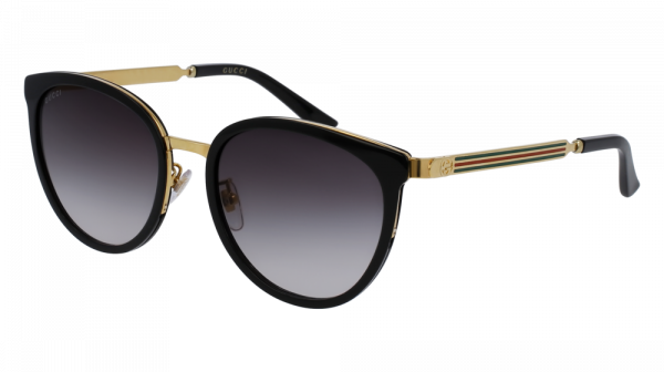 GUCCI GG0077SK style-color Black/GOLD 001 / Grey Gradient Lens