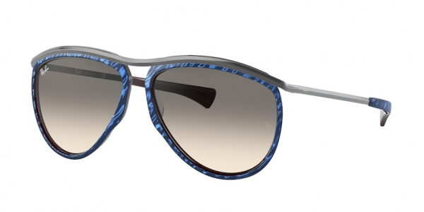 RAY-BAN RB2219 OLYMPIAN AVIATOR style-color 131032 Top Wrinkled Blue ON Brown / clear gradient grey Lens