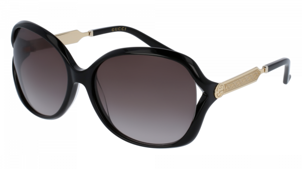 GUCCI GG0076S style-color Black/GOLD 002 / Grey Gradient Lens