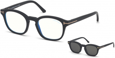 TOM FORD FT5532-B 34251 style-color 02A Matte Black / Blue Block Lenses, Smoke Clip In Black Leather