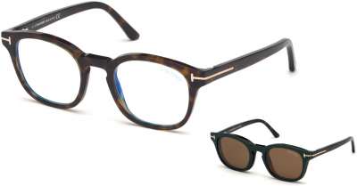 TOM FORD FT5532-B 34251 style-color 52J Havana / Blue Block Lenses, Brown Clip In Brown Leather