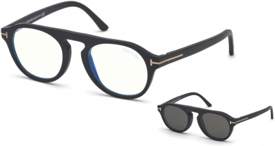 TOM FORD FT5533-B 34242 style-color 02A Matte Black / Blue Block Lenses, Smoke Clip In Black Leather