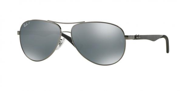 RAY-BAN RB8313 CARBON FIBRE style-color 004/K6 Shiny Gunmetal / blue mirror silver polar Lens