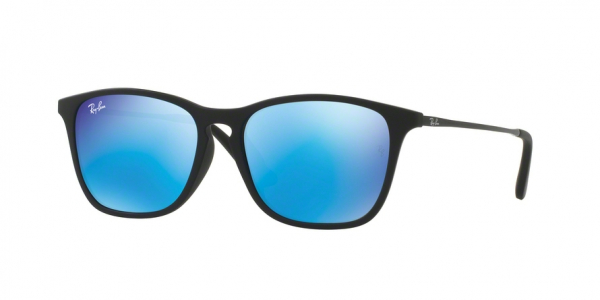 RAY-BAN RJ9061SF ASIAN FIT style-color 700555 Rubber Black / light green mirror blue Lens