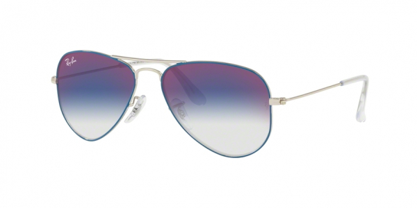 RAY-BAN RJ9506S JUNIOR AVIATOR style-color 276/X0 Silver ON Top Light Blue / blue mirror red Lens