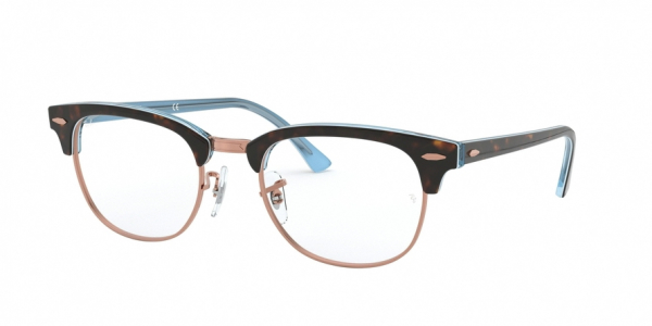 RAY-BAN RX5154 CLUBMASTER style-color 5885 Top Havana ON Light Blue