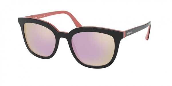 PRADA PR 03XS style-color 541726 Top Black / Pink / grey mirror yellow rose Lens