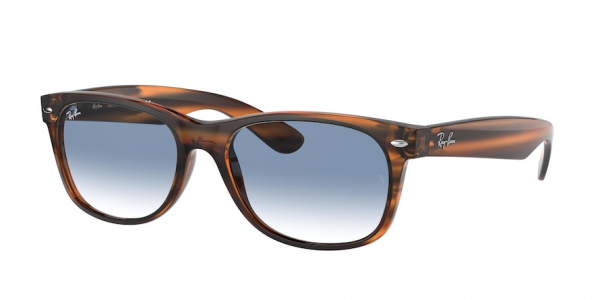 RAY-BAN RB2132F NEW WAYFARER (F) ASIAN FIT style-color 820/3F Striped Red Havana / clear gradient blue Lens