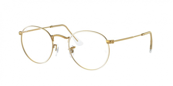 RAY-BAN RX3447V ROUND METAL style-color 3104 White ON Legend Gold