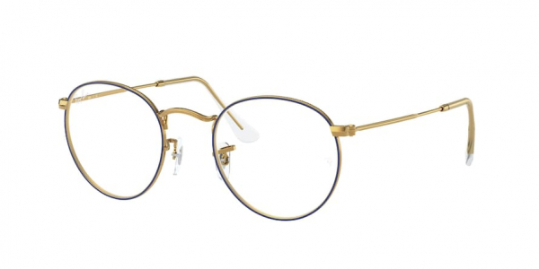 RAY-BAN RX3447V ROUND METAL style-color 3105 Blue ON Legend Gold
