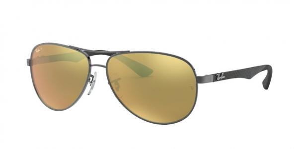 RAY-BAN RB8313 CARBON FIBRE style-color 004/N3 Shiny Gunmetal / brown mirror gold polar Lens