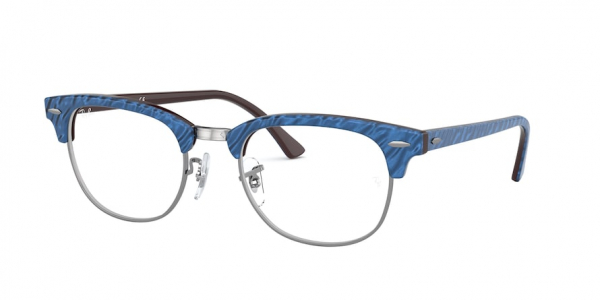RAY-BAN RX5154 CLUBMASTER style-color 8052 Top Wrinkled Blue ON Brown