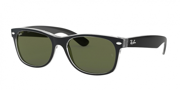 RAY-BAN RB2132F NEW WAYFARER (F) ASIAN FIT style-color 6052 Black ON Transparent / g-15 green Lens