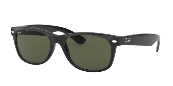 RAY-BAN RB2132F NEW WAYFARER (F) ASIAN FIT style-color 901/58 Black / g-15 green Lens