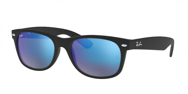 RAY-BAN RB2132F NEW WAYFARER (F) ASIAN FIT style-color 622/17 Rubber Black / grey mirror blue Lens