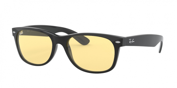 RAY-BAN RB2132F NEW WAYFARER (F) ASIAN FIT style-color 601/R6 Black / yellow Lens