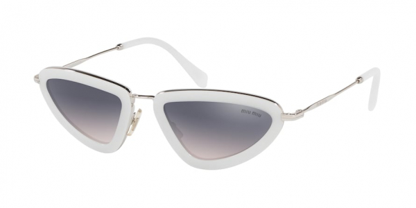 MIU MIU MU 60US CORE COLLECTION style-color 133GR0 Opal Talc / pink grad violet mirror silver Lens