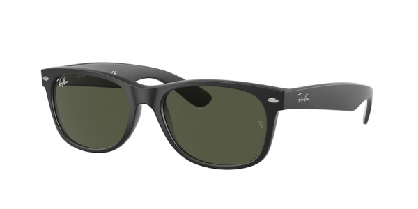 RAY-BAN RB2132F NEW WAYFARER (F) ASIAN FIT style-color 622 Rubber Black / g-15 green Lens