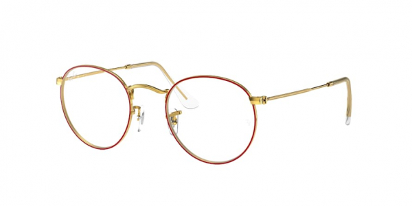 RAY-BAN RX3447V ROUND METAL style-color 3106 Red ON Legend Gold