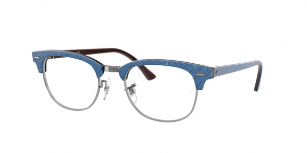 RAY-BAN RX5154 CLUBMASTER style-color 8052 Wrinkled Blue ON Brown